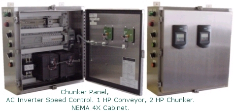 Chunker Panel, Ac Inverter speed control,<br /><br /><br /> 1 HP conveyor. 2 HP Chunker, Nema 4X cabinet