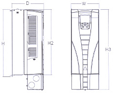 Dimensions: ACS550 NEMA 1 R1 through R6 Frame Size