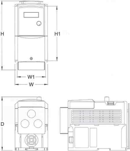 Saftronics - CV10 - Compact Vector AC Drive - Dimensions Frame 1 - NEMA 1