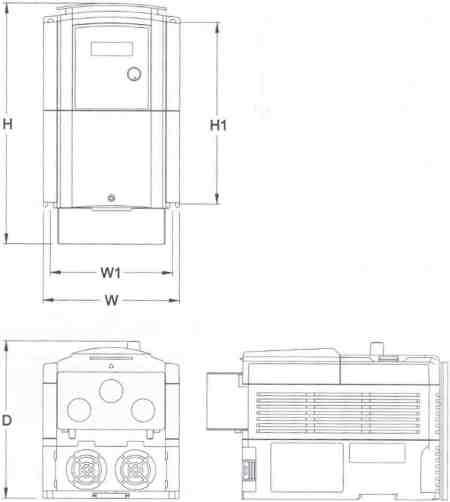 Saftronics - CV10 - Compact Vector AC Drive - Dimensions Frame 2 - NEMA 1
