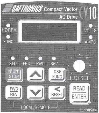 Saftronics - CV10 - Compact Vector AC Drive LED Keypad with Speed Pot.