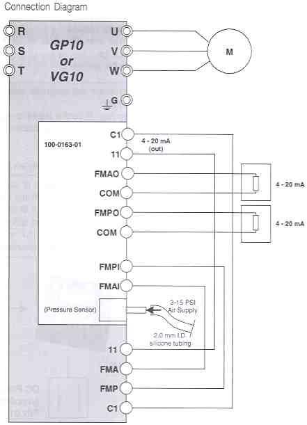 Connection Diagram Air Pressure Sensor + V/I Converter Output Card