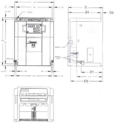 Saftronics PC10 Mini Vector AC Drive Dimensions for Part Number: PC102007-9, PC102010-9, PC104007-9 & PC104010-9�