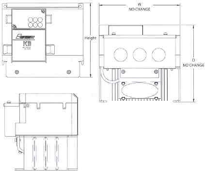 Dimensions for PC 10 Mini Vector AC Drive NEMA 1 Kit