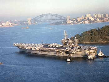 Sidney, Austrailia, Apr. 5, 2001 - USS Constellation (CV 64) arrives in the port of Sydney,  Australia, for a visit prior to continuing on to the Arabian Gulf.