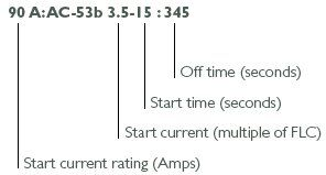 AuCom ratings are detailed using the AC53b utilisation code specified by IEC60947-4-2: